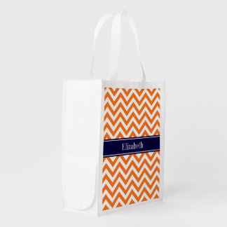 Pumpkin Orange Lg Chevron Navy Name Monogram Reusable Grocery Bag