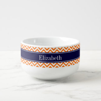 Pumpkin Orange Lg Chevron Navy Name Monogram Soup Mug
