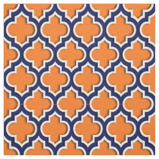 Pumpkin Orange, Navy Blue Moroccan Quatrefoil #5DS Fabric
