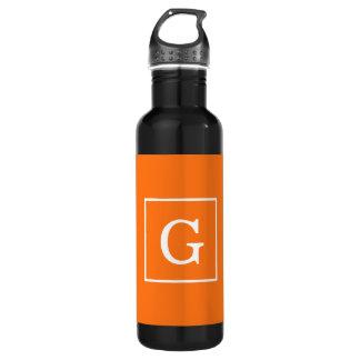 Pumpkin Orange White Framed Initial Monogram 710 Ml Water Bottle