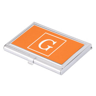 Pumpkin Orange White Framed Initial Monogram Business Card Holder