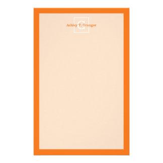 Pumpkin Orange White Framed Initial Monogram Customized Stationery