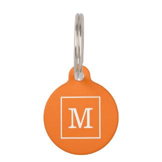 Pumpkin Orange White Framed Initial Monogram Pet Name Tag