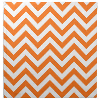 Pumpkin Orange, White Large Chevron ZigZag Pattern Napkin