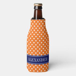Pumpkin Orange White Polka Dots Navy Name Monogram Bottle Cooler