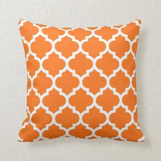 Pumpkin Orange Wht Moroccan Quatrefoil Pattern #5 Cushion