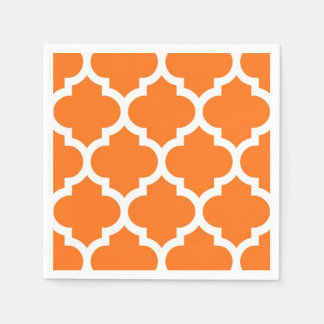 Pumpkin Orange Wht Moroccan Quatrefoil Pattern #5 Disposable Napkins