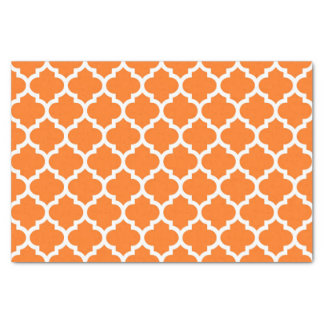 Pumpkin Orange Wht Moroccan Quatrefoil Pattern #5 Tissue Paper