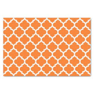 Pumpkin Orange Wht Moroccan Quatrefoil Pattern #5 Tissue Paper