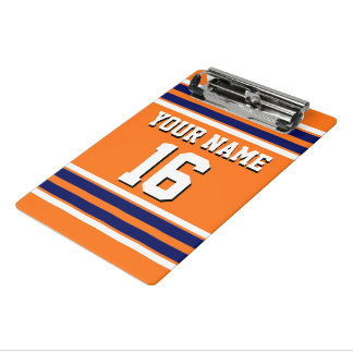 Pumpkin Orange with Navy White Stripes Team Jersey Mini Clipboard