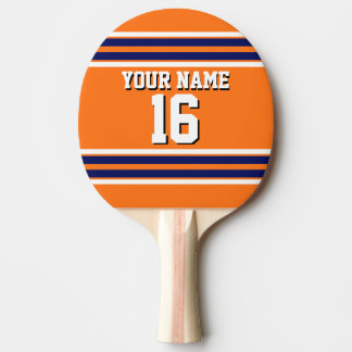 Pumpkin Orange with Navy White Stripes Team Jersey Ping Pong Paddle