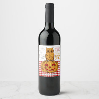 Pumpkin Owl & Gingham Baby Girl Announcement Wine Label