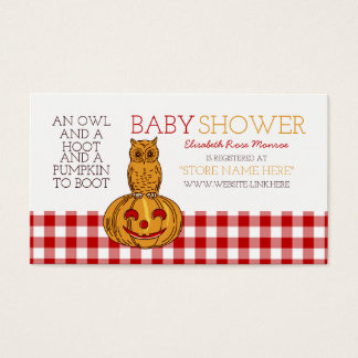 Pumpkin Owl & Gingham Baby Shower Gift Registry Business Card