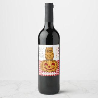 Pumpkin Owl & Gingham Baby Shower Wine Label