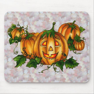 PUMPKIN PATCH & AUTUMN LEAVES by SHARON SHARPE Mouse Pad