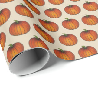 Pumpkin Patch Orange Harvest Spice Thanksgiving Wrapping Paper