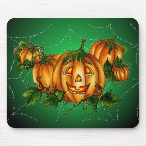 PUMPKIN PATCH & SPIDERWEB by SHARON SHARPE Mouse Mats