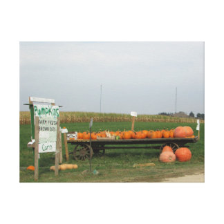 Pumpkin Patch Stand Halloween Autumn Canvas Art