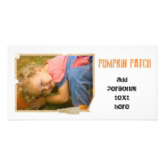 pumpkin patch with sepia overlay customised photo card