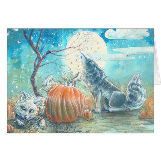 Pumpkin Patch Wolves Greeting Card