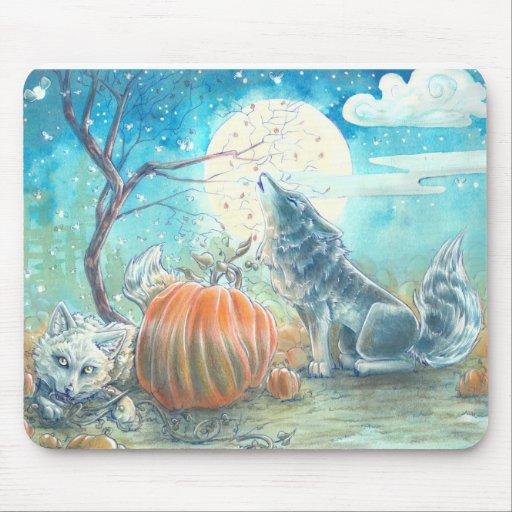 Pumpkin Patch Wolves Mousepads