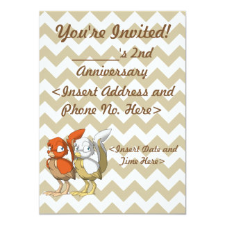 Pumpkin Pie/White and Gold Reptilian Bird Joint 11 Cm X 16 Cm Invitation Card