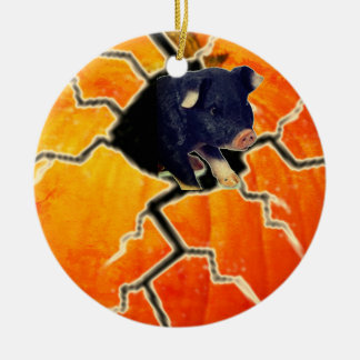 Pumpkin Pig Christmas Ornament