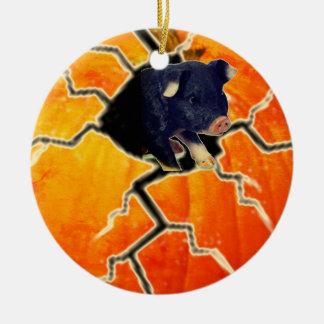 Pumpkin Pig Christmas Ornament