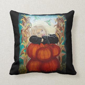 Pumpkin Pile - Halloween Witch Art Cushion