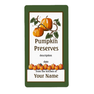 Pumpkin Preserves Canning Label