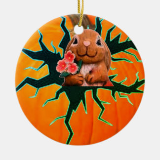 Pumpkin Rabbit Christmas Ornament
