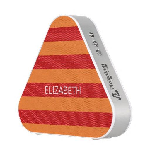 Pumpkin Red Horizontal Preppy Stripe Name Monogram Bluetooth Speaker