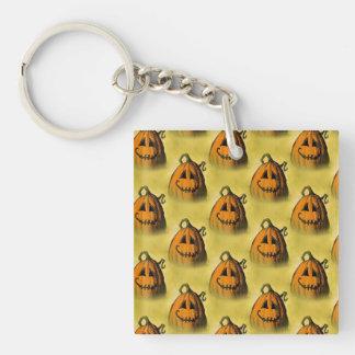 Pumpkin Retro Custom Halloween Pattern Single-Sided Square Acrylic Key Ring