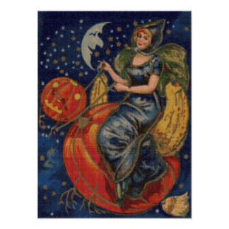 Pumpkin Ride Cross Stitch Poster