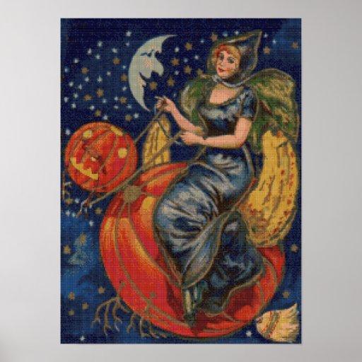 Pumpkin Ride Cross Stitch Poster