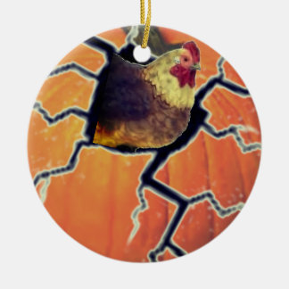 Pumpkin Rooster Christmas Ornament