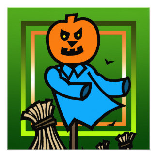 Pumpkin Scarecrow Halloween Party Invitation