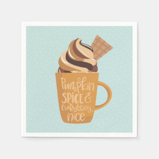 Pumpkin Spice and Everything Nice Latte Napkins Disposable Napkins