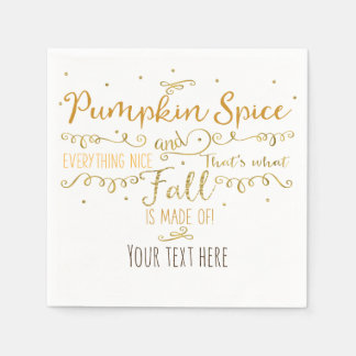 Pumpkin Spice & Everything Nice Fall Party Disposable Serviettes
