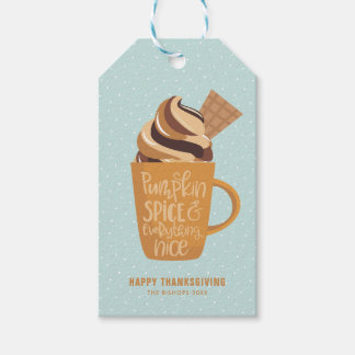 Pumpkin Spice & Everything Nice Latte Thanksgiving Gift Tags