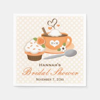 Pumpkin Spice Fall Themed Bridal Shower Paper Napkin