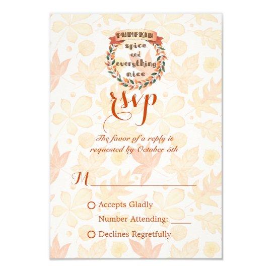 Pumpkin Spice Fall Wreath Thanksgiving Dinner RSVP Card