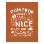 Pumpkin Spice Typographic Autumn Art Print Photographic Print