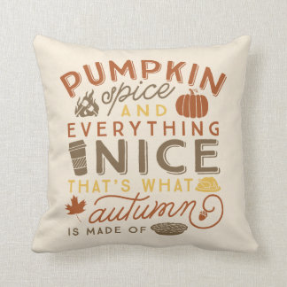 Pumpkin Spice Typographic Autumn Throw Pillow