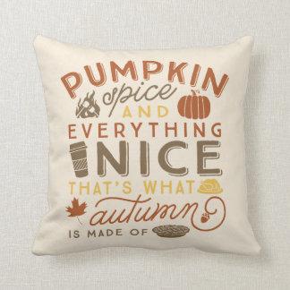 Pumpkin Spice Typographic Autumn Throw Pillow Throw Cushion