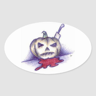Pumpkin Stab Oval Sticker