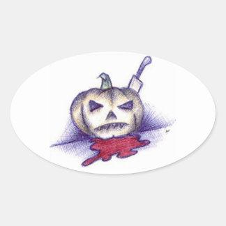 Pumpkin Stab Oval Sticker