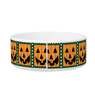 Pumpkin Stamp Ceramic Pet Bowl
