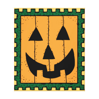 Pumpkin Stamp Stretched Canvas Print