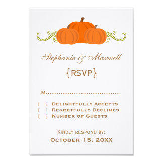 Pumpkin Swirls Fall Wedding Response Card 9 Cm X 13 Cm Invitation Card